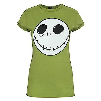 Nightmare Before Christmas Jack Reverse Seam Green Women's T-Shirt