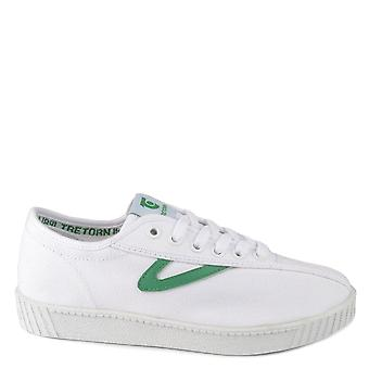 Tretorn Unisex Nylite White And Green Canvas Trainer