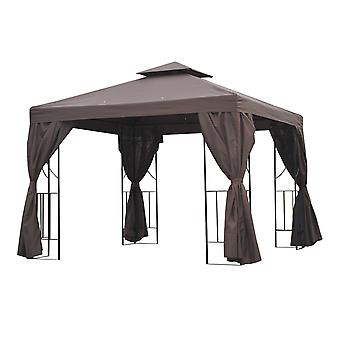 Outsunny 3 x 3 m Garden Metal Gazebo Marquee Patio Wedding Party Tent Canopy Shelter with Pavilion Sidewalls (Brown)