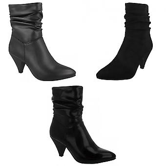 Spot On Womens/Ladies Mid Heel Rouched Ankle Boots