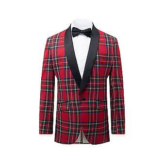 Dobell Mens Red Tartan Tuxedo Jacket Regular Fit Contrast Shawl Lapel