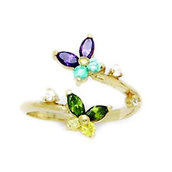14k Yellow Gold Purple Blue Green and Yellow CZ Adjustable 2 Butterflies Body Jewelry Toe Ring Jewelry Gifts for Women