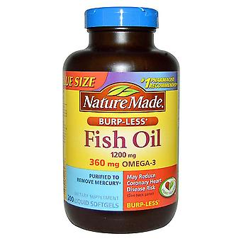 Nature made fish oil burp-less, 1200 mg, liquid softgels, 200 ea