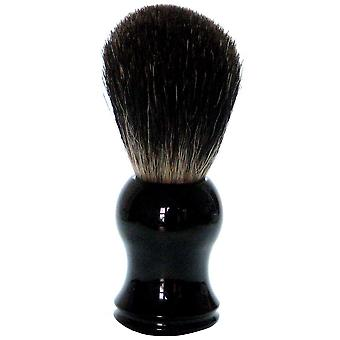 Gold roof shaving brush with badger hair plastic handle black
