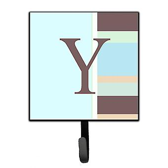 Letter Y Initial Monogram - Blue Stripes Leash Holder or Key Hook