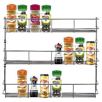 Kabalo ze stali nierdzewnej 3 warstwy Spice Herb Rack dla drzwi szafki kuchenne