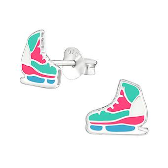 Ice Skating Shoes - 925 Sterling Silver Colourful Ear Studs - W37490x