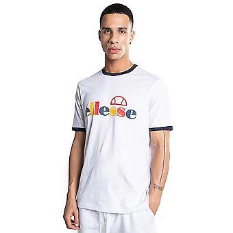 Ellesse Limora 8556 Multi-colour Logo Ringer Half Sleeve T-shirt - White Marl