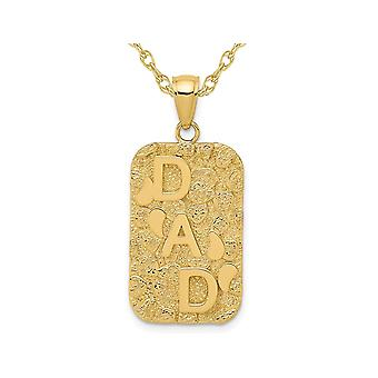 14K Yellow Gold DAD Gold Nugget Dog Tag Pendant Necklace with Chain