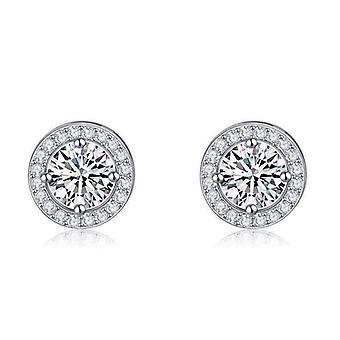 Boucles d'oreilles en cristal de halo enchantées plaquées or 18K pour femme