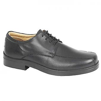 Roamers Milton Mens Leather Tramline Gibson Sapatos Preto