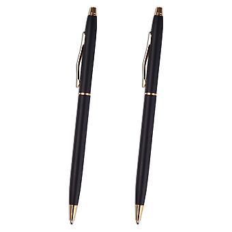 2x Black & Silver Ballpoint Pen Stainless Steel Biro Black Ink