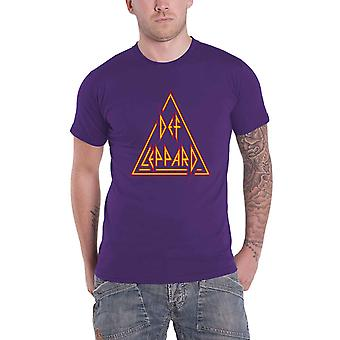 Def Leppard T Shirt Classic Triangle Band Logo new Official Mens Purple