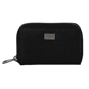 Black leather mens coin card zipper continental wallet
