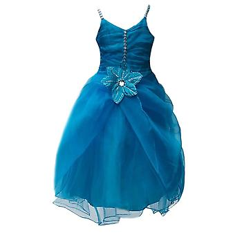 Aqua Blue Flower Girl Dresses, Ruffled Prom Wedding Dress