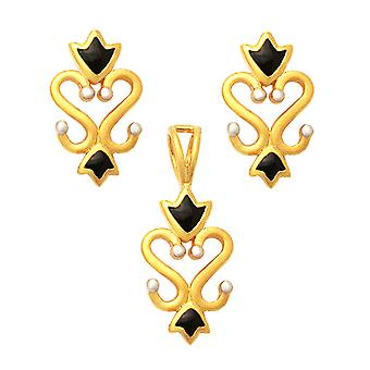 22K Enamaled Filigree Gold Set Jewelry