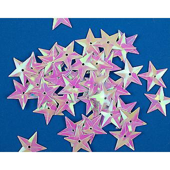 50 Iridescent 18mm Sequin Stars for Crafts