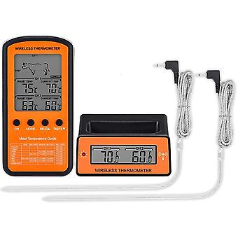 Wireless Remote Dual Probe Digital Thermometer For Grilling Smoker Bbq Cooking