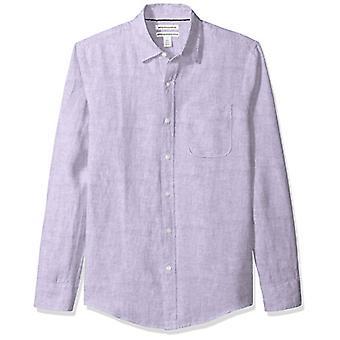 Essentials Men & apos;s Slim-Fit Long-Sleeve الكتان قميص, لافندر, X-Large