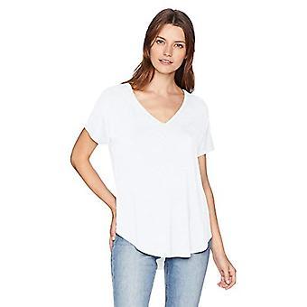 Brand - Daily Ritual Women's Jersey Short-Sleeve V-Neck Longline T-Shirt, white, X-Large