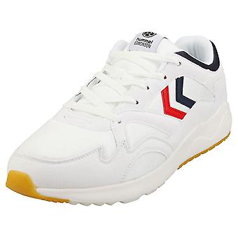 hummel Edmonton Mens Casual Trainers in White Blue Red