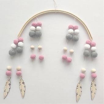 Nordic Wooden Beads Wind Chimes With Wool Balls Hanging - Newborn Baby Bed Crib