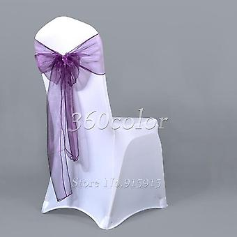 Organza Sashes Chair Bows, Wedding Party Christmas Cover Banquet Decoration