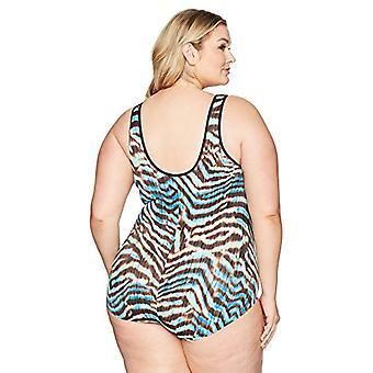 العلامة التجارية - الساحلية الأزرق المرأة & ق زائد حجم التحكم ملابس السباحة أمام سستة O ...