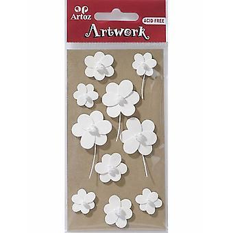 White Round Flowers Craft Embellishment By Artoz
