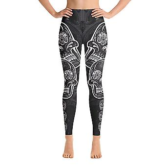 Workout Leggings | Yoga Leggings | Skulls in B&W