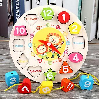 Children Montessori Wooden Clock Toys For Kids Early Preschool Education