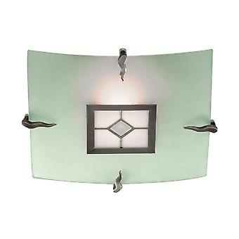 Searchlight Tiffany - 1 Licht Tiffany Flush Plafond Licht Antieke Messing