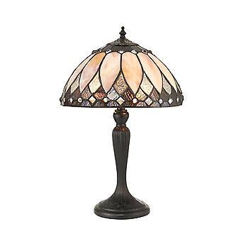 Interiors Brooklyn - 2 Light Small Table Lamp Dark Bronze, Tiffany Glass, E14