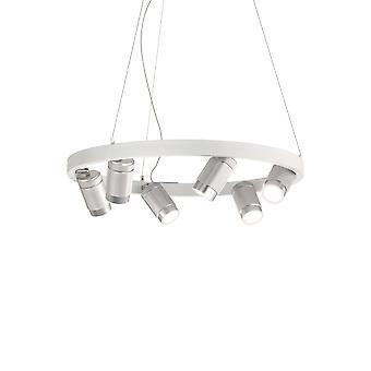 Ihanteellinen Lux ZOOM - Integroitu LED pyöreä kattoriipuslamppu 6 valoa valkoinen 3000K