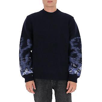 Les Hommes Ljk111656u7971 Men's Blauwe Wollen Trui