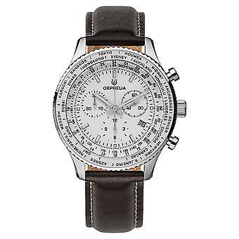 ORPHELIA mannen Chronograph Watch Master bruin leer OR81704