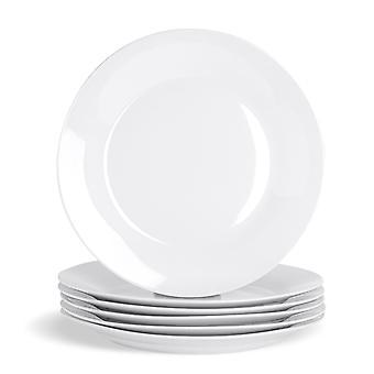 """6 Piece White Dinner Plate Set - Ekstra store klassiske porcelæn spisestue plader med bred kant - 307mm (12"""")"""