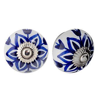 Nicola Frühling Keramik Schrank Schublade Knöpfe - Blumendesign - dunkelblaue Blume - Packung mit 12