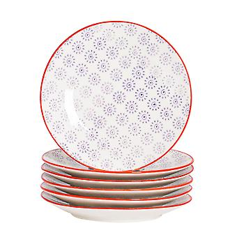 Nicola Spring 6 Piece Hand-Printed Side Plate Set - Japanese Style Porcelain Dessert Bread Plates - Purple - 18cm