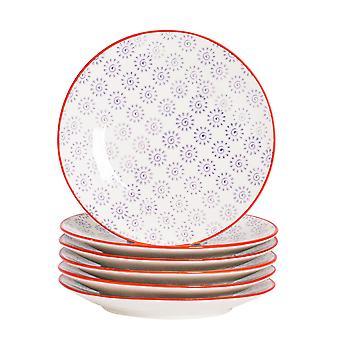 نيكولا الربيع 6 قطعة اليد المطبوعة مجموعة لوحة جانبية - نمط اليابانية الخزف أطباق الخبز الحلوى - الأرجواني - 18cm
