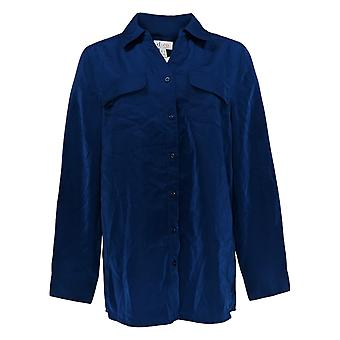 Denim & Co. Women's Top Roll Tab Manica Pulsante Front Tunic Blu A227885