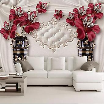 Tilpasset Foto Bakgrunn 3d Europeisk Stil Smykker Blomst Stue Soverom Bakgrunn For Vegger (1 )