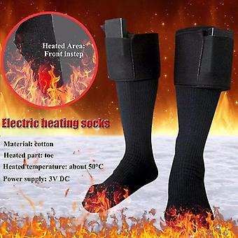 Men Women Winter Warm Electric Heating Socks Battery Operated Long