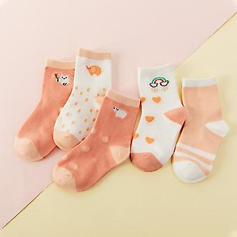 5 Pereche Jacquard Cat, Unicorn Rabbit Comfort Warm Cotton Kids Baby Socks- Copil