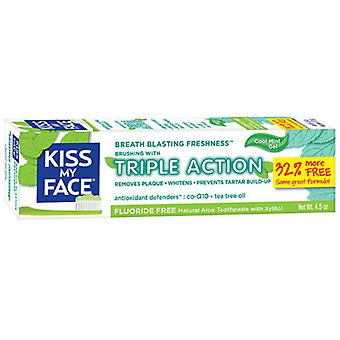 Kiss My Face Fluoride Free Triple Action Gel Toothpaste, 4.5 oz
