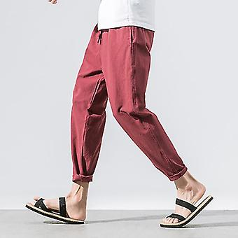 Summer Straight Casual Loose Wide Leg Cotton And Linen Chinese Men's Pants