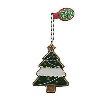 Pendentif blanc gran d'arbre de Noël de figure de pain d'épice