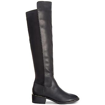 Material Girl Womens Darcell Leather Almond Toe Over Knee Fashion Boots