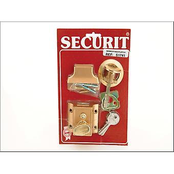 Securit Narrow Nightlatch Brass Cylinder S1741
