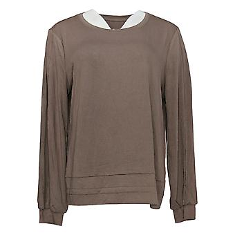 AnyBody Women's Top Textured Knit Long Sleeve Top Brown A374507